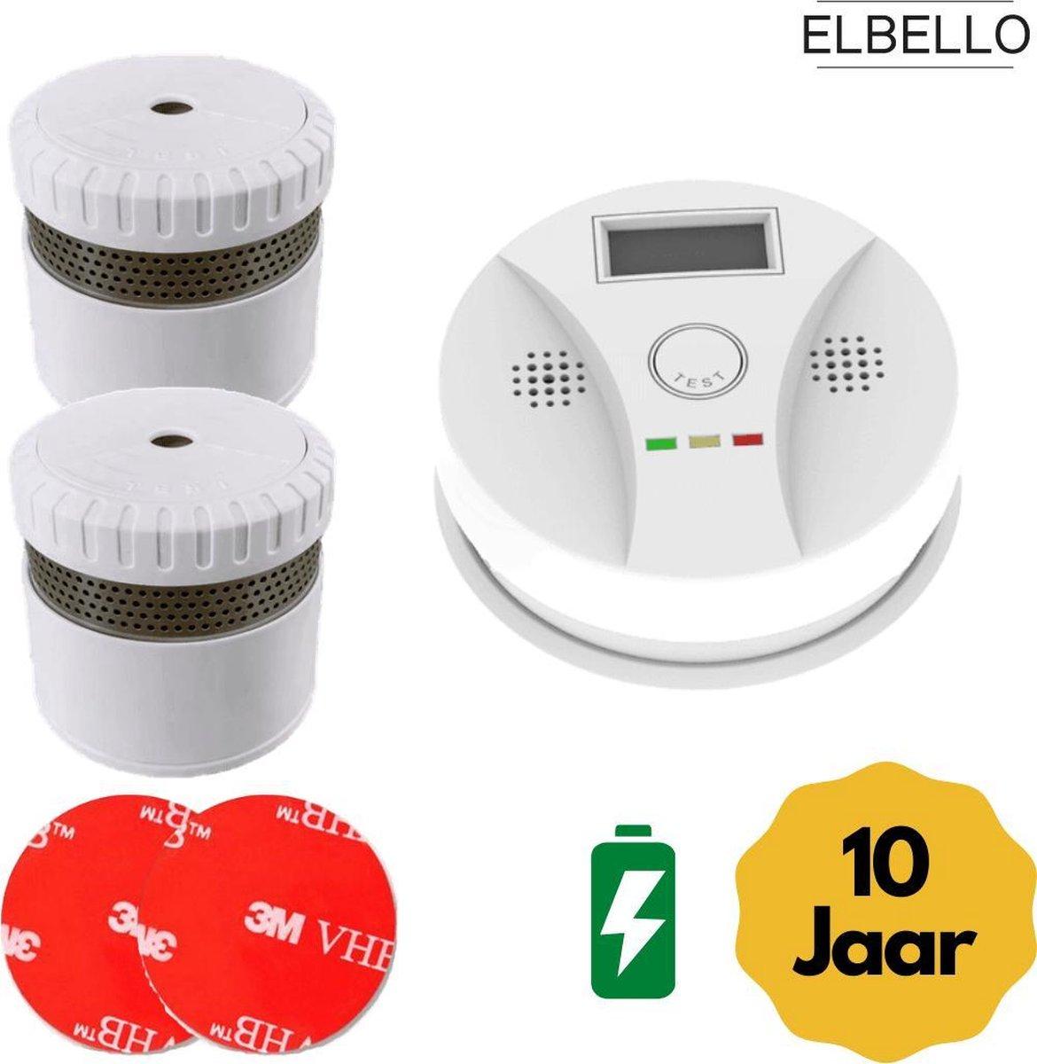 ELBELLO FS31 - 2 rookmelders en koolstofmonoxidemelder set -  inclusief 10 jaar batterij - zonder bo