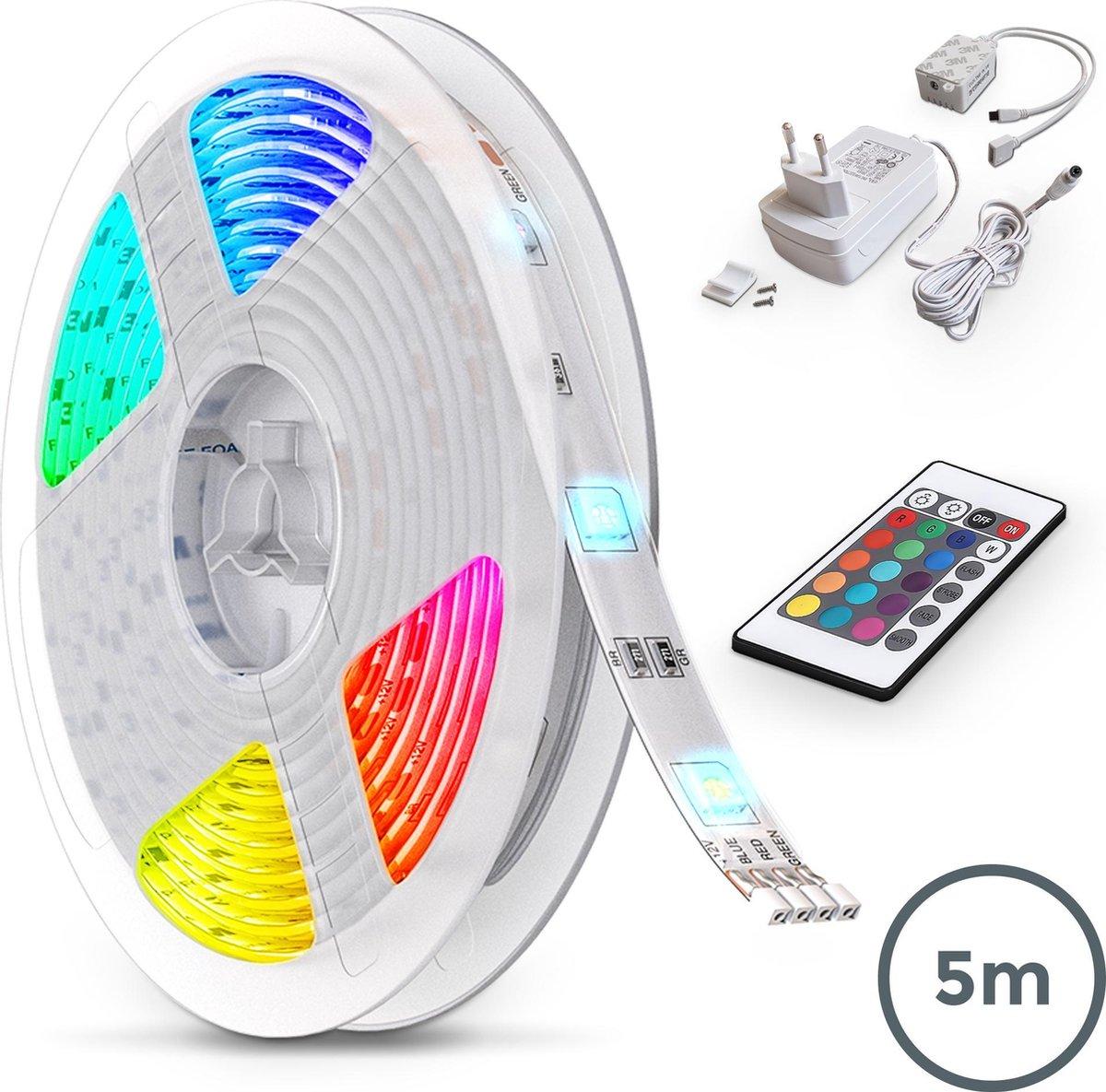 B.K.Licht - 5 meter LED lightstrip met afstandsbediening - dimbaar - Wit en gekleurd licht - zelfklevend
