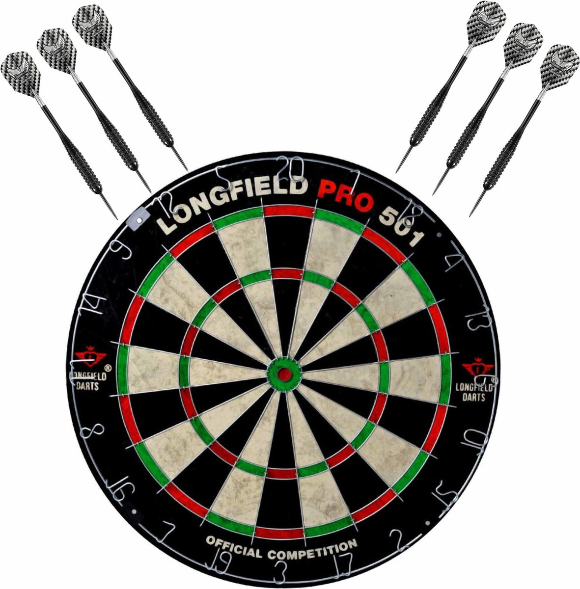 Dartbord set compleet van diameter 45.5 cm met 6x Black Arrow dartpijlen van 23 gram - Sporten darts