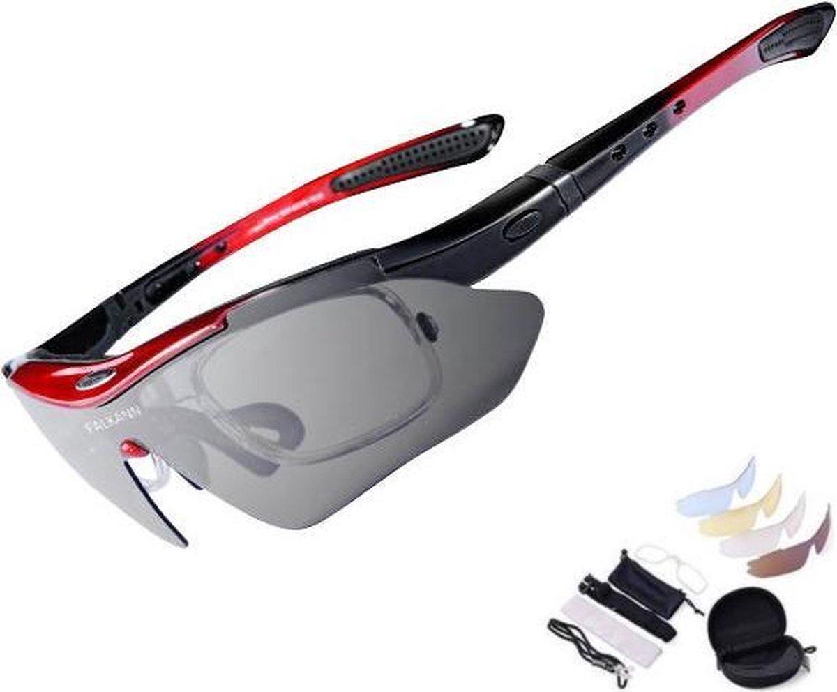 Falkann Basics Fietsbril / Sportbril Set Rood 5 Glazen inc. Gepolariseerde