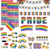 Partizzle® Gay Pride Party Versiering Artikelen - Vlag Slinger Foto Props - Regenboog Decoratie Accessoires Amsterdam - LGBT