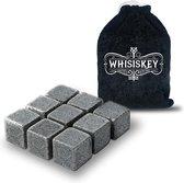 Whisiskey Luxe Whiskey Stones Set - 9 stuks - Natuursteen Whiskey Stenen Voor Glazen - IJsblokjes - Fluwelen Opbergzak - Herbruikbare IJsblokjes - IJklontjes Steen - Ice Cube - Drank Koeler - Cadeau voor Man & Vrouw