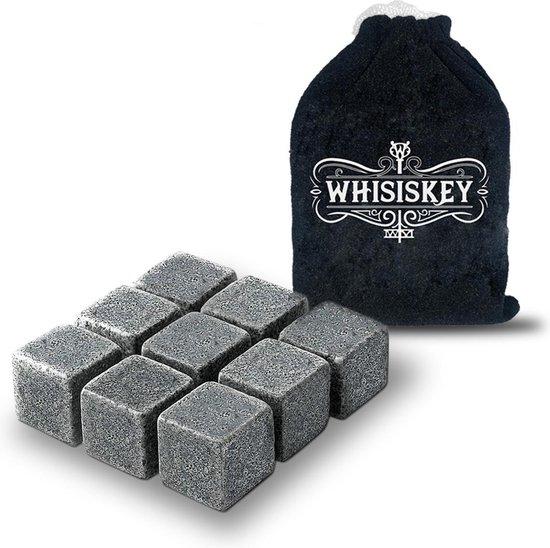 Whisiskey® Luxe Whiskey Stones Set - 9 stuks - Natuursteen Whiskey Stenen Voor Glazen - IJsblokjes - Fluwelen Opbergzak - Herbruikbare IJsblokjes - IJklontjes Steen - Ice Cube - Drank Koeler - Cadeau voor Man & Vrouw
