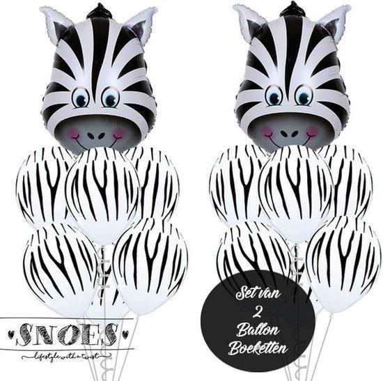 Snoes * Jungle Thema Ballon Boeketten Set van 2 Zebra Safari Verjaardag Folie en Latex ballonnen