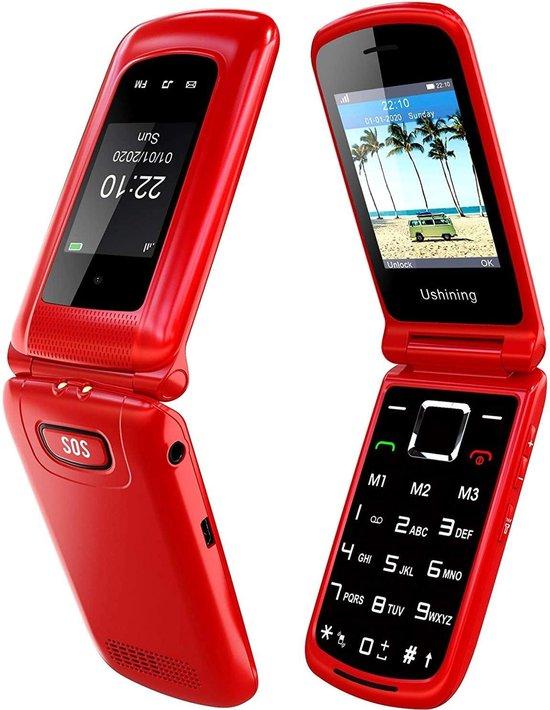 Uleway - Flip - Klaptelefoon - Dual Screen - Twee - Schermen - Gebruiksvriendelijk - Grote Knoppen en Tekst - Dual Sim - SOS Knop - 2 batterijen - SOS knop - telefoon - gsm - senioren - senioor -seniorentelefoon - doro