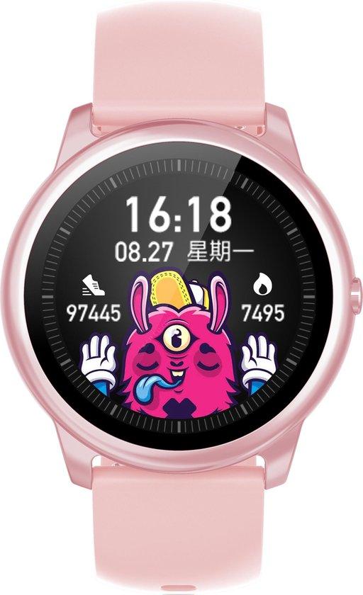 Belesy® VELVET - Smartwatch Dames - Smartwatch Heren - Horloge - 1.3 inch – Hoge resolutie kleurenscherm – Maak je eigen wijzerplaat - Stappenteller - Bluetooth bellen – Siliconen - Roze