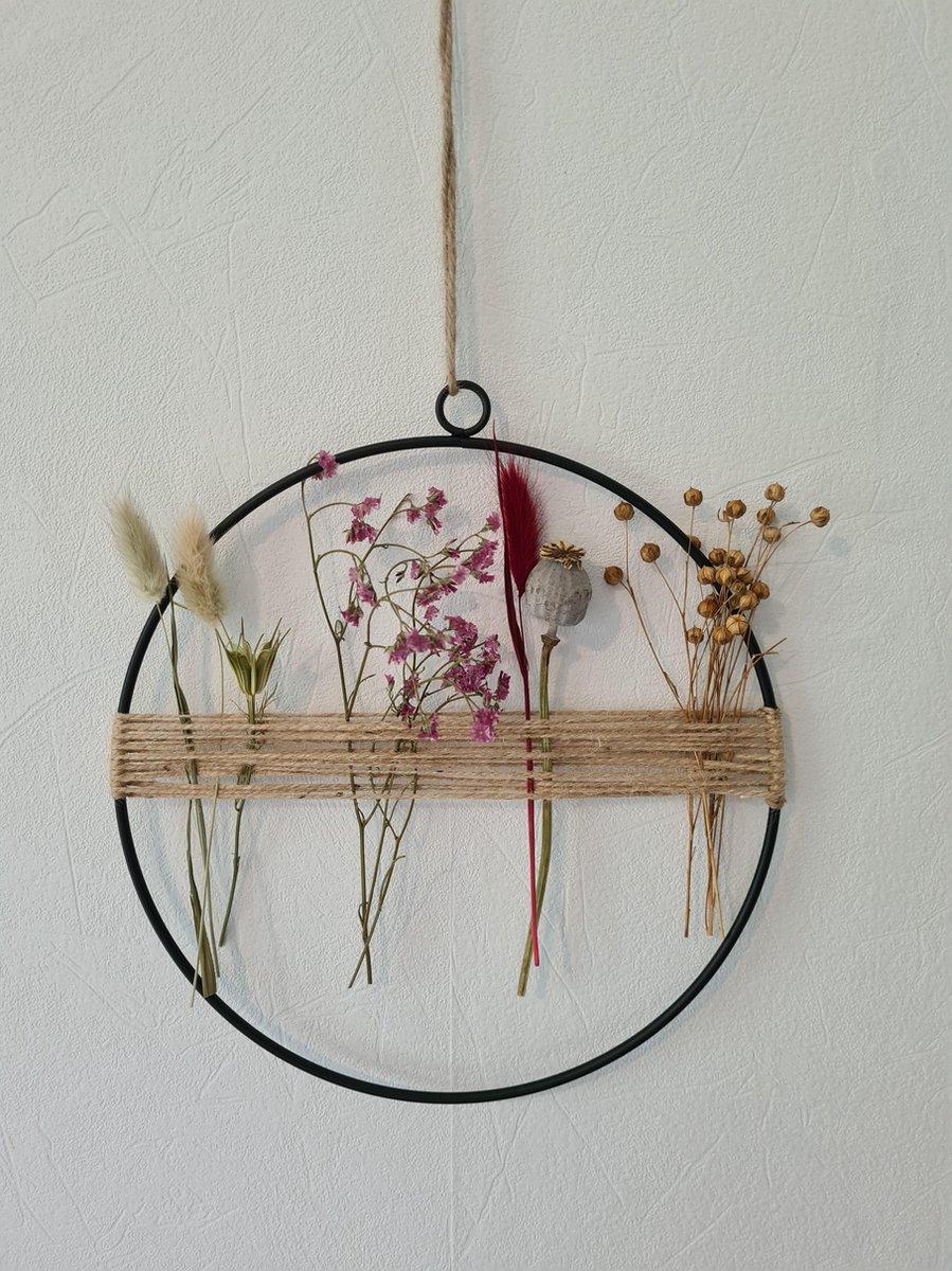 Decoratie ring krans met droogbloemen bloemenkrans 25cm rose en paars