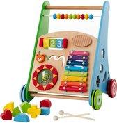 Loopwagen Hout voor Baby +/- 1 jaar | Babywalker | Educatieve looptrainer | Anti-Slip wieltjes | 38 x 32 x 46cm