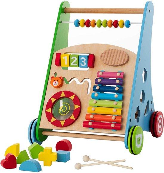 Loopwagen Hout voor Baby +/- 1 jaar   Babywalker   Educatieve looptrainer   Anti-Slip wieltjes   38 x 32 x 46cm