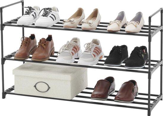 ACAZA Praktisch Schoenenrek met 3 Lagen voor 12 Paar Schoenen - Metaal / Kunststof - Zwart