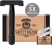 Guardenza Double-Edge Safety Razor Butterfly  (incl. scheermesjes) mat zwart  | Klassiek Scheermes| Barbier Scheermes | Veiligheidsscheermes