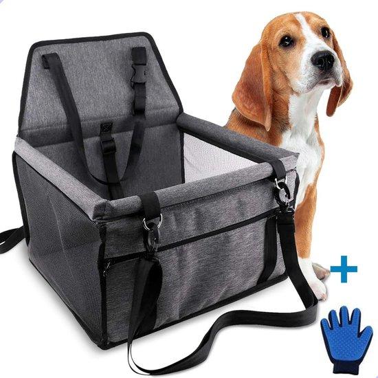 Sam's Home Premium - Opvouwbare autostoel hond - Inclusief Hondenriem en GRATIS borstelhandschoen - Hondenzitje - Puppyzitje - Donkergrijs