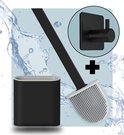 Syrad® Flexibele Wc Borstel met Houder - Mat Zwart - Gratis Handdoekhaakje - Luxe Borstel - Vrijstaand of Hangend - Inclusief Ophangsysteem - Toiletborstel - Siliconen - Rolhouder