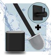 Syrad® Flexibele Wc Borstel met Houder - Mat Zwart - Gratis Handdoekhaakje - Luxe Borstel - Vrijstaand of Hangend - Toiletborstel - Siliconen - Rolhouder
