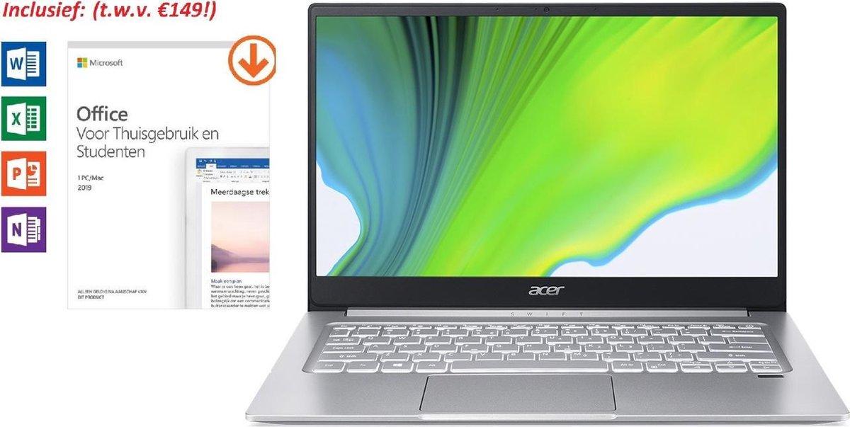 Acer Swift 3 - Laptop - 14 Inch - Tijdelijk met GRATIS Office 2019 Home & Student t.w.v. €149 (verloopt niet, geen abonnement) & BullGuard Antivirus t.w.v €60! (1 jaar, 3 apparaten)