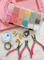 DIY - kralen complete starterspakket voor het maken van sieraden - sieraden tangen - kralenbord - glaskralen - Volwassenen en kinderen - Rocailles - Pastel - Zelf maken - Knijpkralen