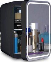 PIXMY - Skincare Fridge - 8L Inhoud Zwart - Mini Koelkast - Met Spiegel En Ledverlichting - Skincare Koelkast - Make Up Koelkast - PISCF21LED8L