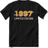 1997 Limited Edition Lines | Feest Kado T-Shirt Heren - Dames | Geel - Grijs | Perfect Verjaardag Cadeau Shirt | Grappige Spreuken - Zinnen - Teksten |