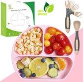 HI NATURE™ Baby bord met zuignap - Siliconen bord - Kindersevices - Babycadeaus voor eten & drinken - BPA vrij baby bordje set roze