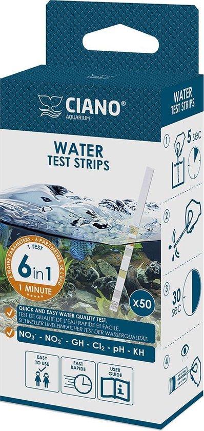 Ciano - Aquariumwater Teststrips - Waterwaardes testen - 6 in 1 - 50 strips
