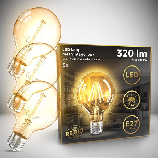 B.K.Licht - Led Lichtbron - filament - kooldraadlampen - globe - retro led lamp - E27 - G80 Edison - 2.200K - 4W - 320lm - amber kleur -  set van 3