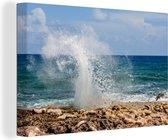 Caraïbische Zee op een zonnige dag in Grand Cayman Canvas 140x90 cm - Foto print op Canvas schilderij (Wanddecoratie woonkamer / slaapkamer)