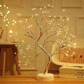Livin' LED Bonzai Boom Tafellamp Woonkamer en Slaapkamer - Nachtlampje voor Volwassenen en Kinderen - Bureaulamp - Bed en Leeslamp - Lamp Zilver met Warm Wit Licht