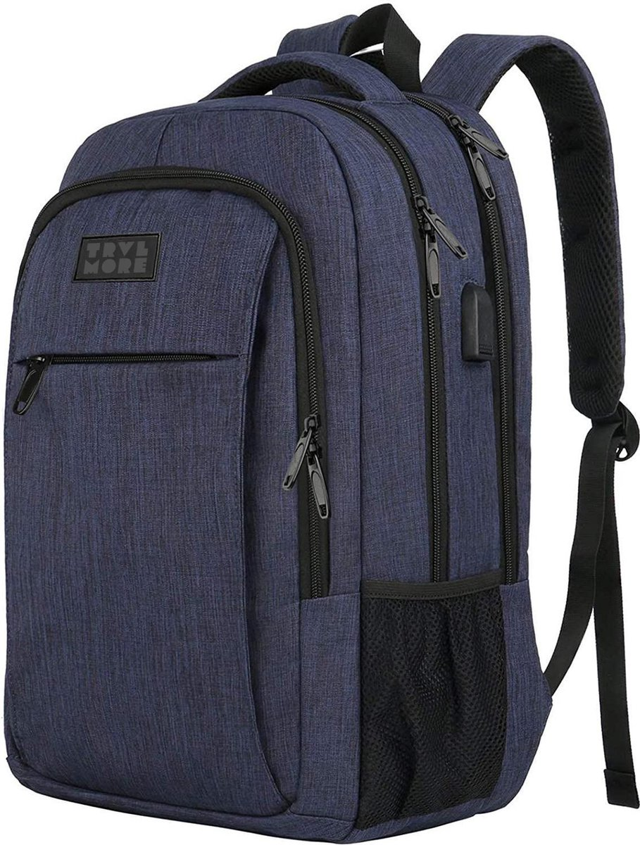 TravelMore Daily Carry Backpack - 15,6 inch Laptop Rugzak - Dames/Heren - 28L - Waterafstotend - Bla