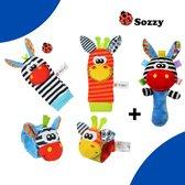 Baby Rammelaar- Baby Rammelaar sokjes en rammelaar armbanden- 5-delig rammelaar set- Baby gift