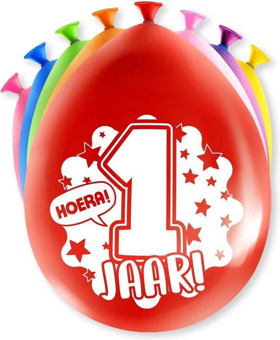 Ballonnen 1 Jaar Hoera 30cm 8st