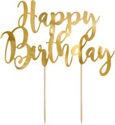 Taarttopper Happy Birthday Goud 25,5cm