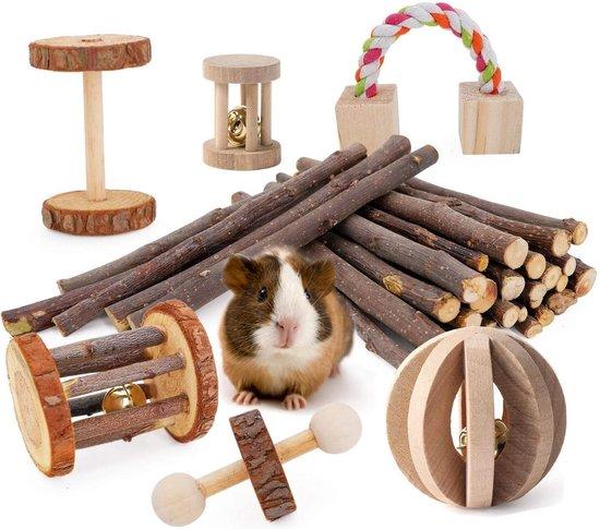 Hamster Speelgoed - Hamsterbal - Konijnspeelgoed - Konijnen speelgoed knaagdier - Cavia speelgoed - Bruin