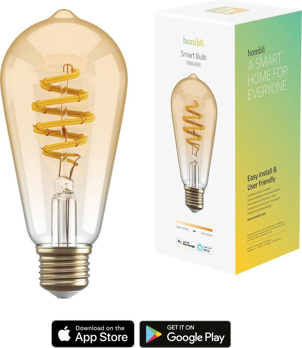 Hombli Smart Filament Bulb E27 ST64 - Amber - Edison - Warm wit licht