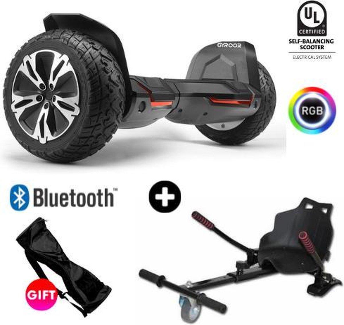 Gyroor G2   Hoverboard met Hoverkart  8.5 Inch Wielen   Oxboard   Elektrische Step Alternatief   Zwart
