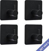 Handdoekhaakjes Zwart - Ophanghaken  - 4 stuks - Zelfklevend zonder te boren   – Keukenhaakjes - Vierkant - Loft C
