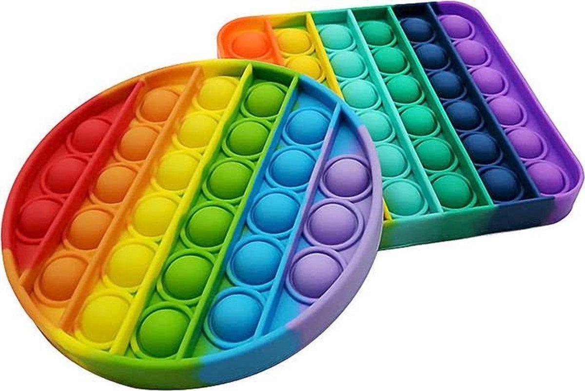 Pop It Fidget Unieke Set: Regenboog Rond & Vierkant - Merkloos