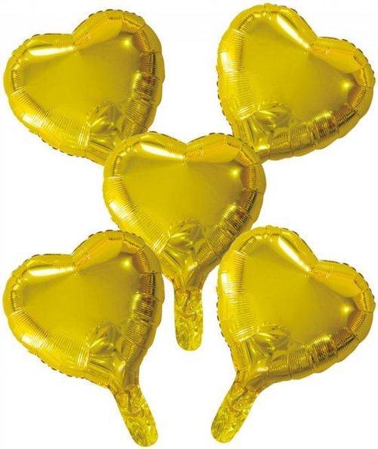 Wefiesta Folieballonnen Hartvorm 22 Cm Goud 5 Stuks