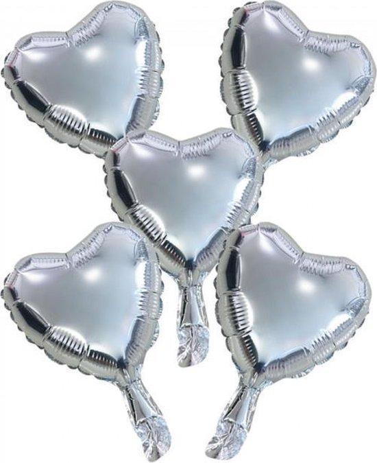 Wefiesta Folieballonnen Hartvorm 22 Cm Zilver 5 Stuks