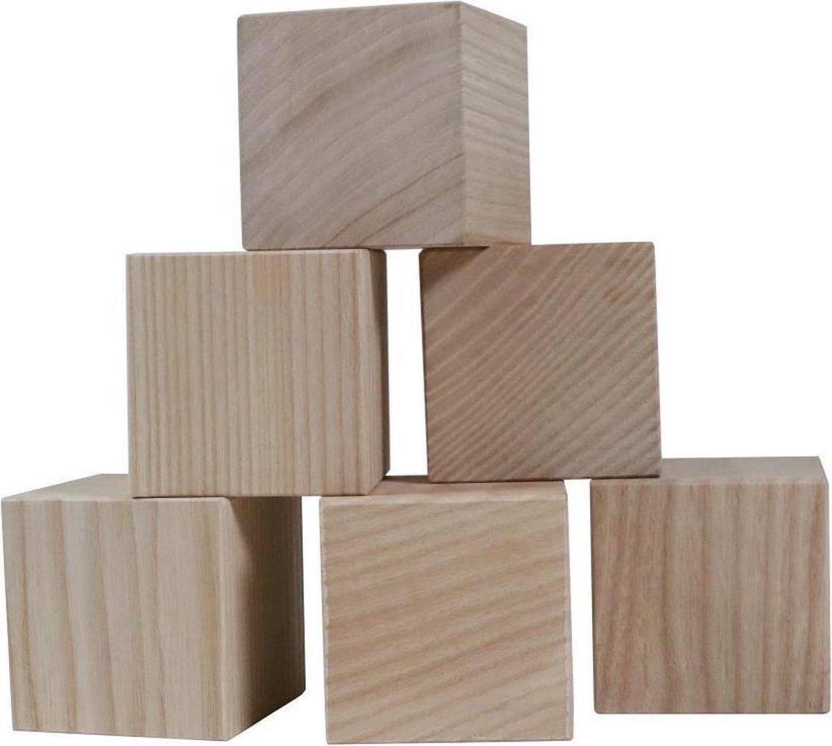 6 Beukenhouten Bouwblokken - Blokkendoos - Blokkentoren