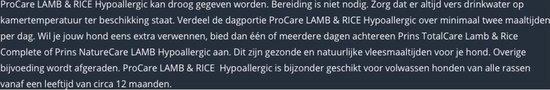 Prins ProCare Lam en Rijst Hypoallergic 15 kg. -  - 80009421 - Prins