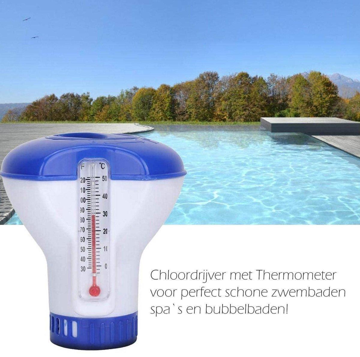 chloordrijver Dispenser - reiniging - Chloordrijver - Chloordrijver en Thermometer - jacuzzi - Chloorverdeler - opblaas zwembad - Zwembad Schoonmaak Accessoire - Thermometer - zomer - Regelbare chloordispenser