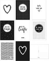 Kaartenset Liefde Zwart Wit - Ansichtkaarten - Wenskaarten Liefde - 8 stuks