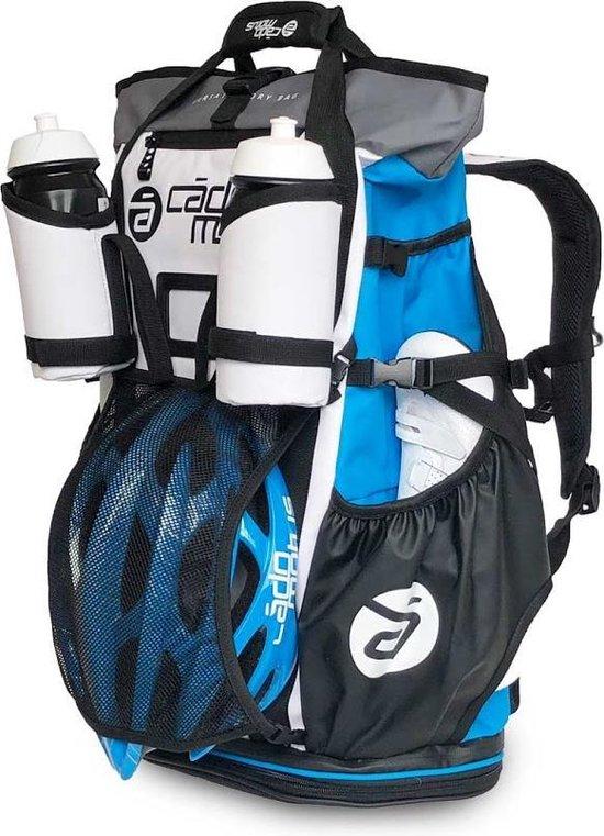 Cádomotus Versatile Wit/Blauw - Ruime en Veelzijdige Sportrugtas 40+15L met Drybag - Waterdicht en Oersterk - Wedstrijdtas voor o.a. Triathlon, MTB en Fietsen - Geschikt voor Veelvuldig en Professioneel Gebruik