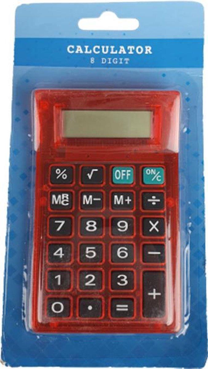 Rekenmachine - Rood - Kunststof - 11,5 x 7 cm