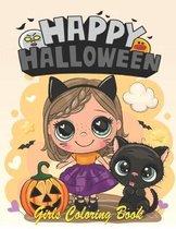 Happy Halloween Girls Coloring Book