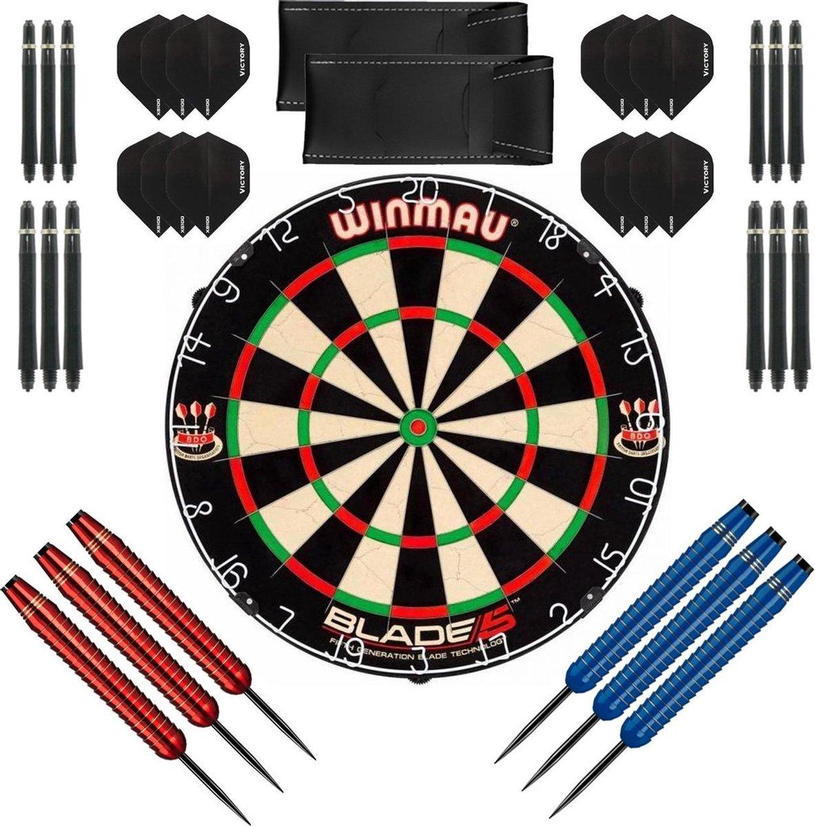 Dragon Darts complete Shark dartset - Winmau blade 5 - dartbord - dart shafts - dart flights - dartpijlen 24 gram - 100% brass - 2 sets - dartpijlen - rood-blauw