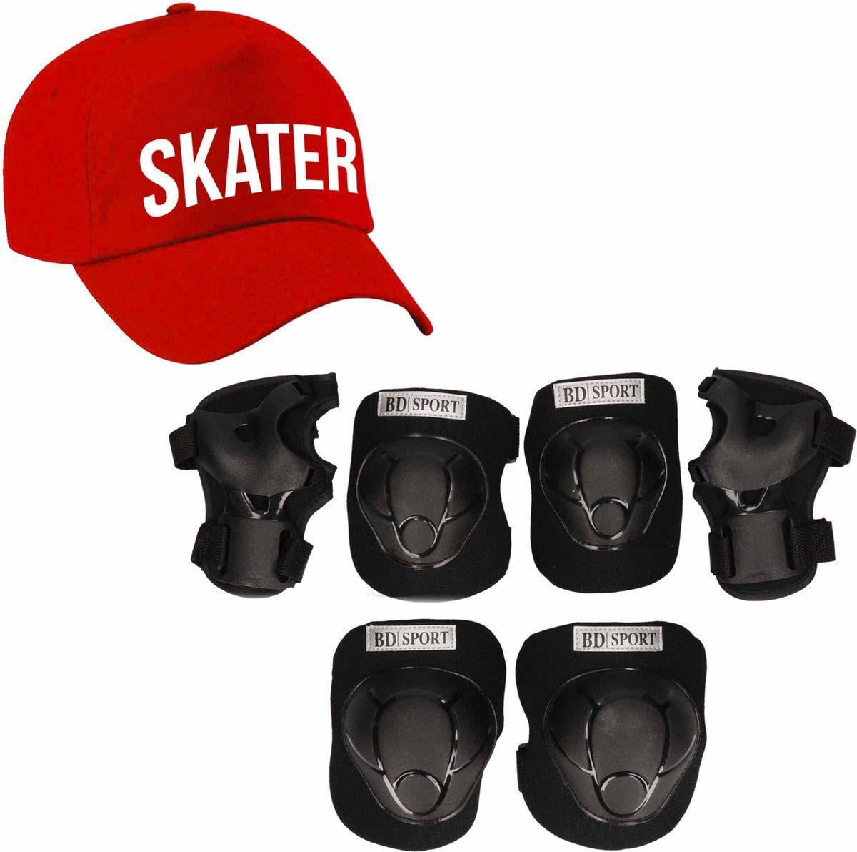 Set van valbescherming voor kinderen maat M / 6 tot 8 jaar met een stoere SKATER pet rood