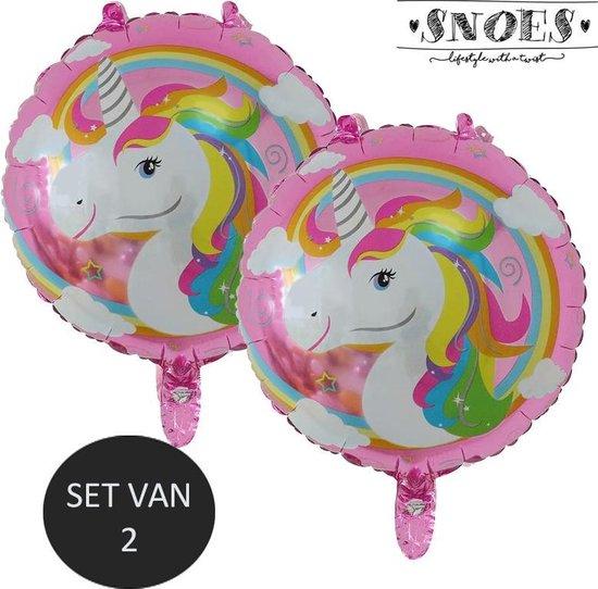 Unicorn Ronde ballon set Snoes Colorful * Eenhoorn ballonnen set van 2 * Verjaardag * Thema Feest * Eenhoorn verjaarjaardag * Paarden meisjes