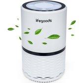 LifeGoods Luchtreiniger - Vervangbare HEPA Filter - CADR: 70 m³h - Blauwe LED Lamp - 25W - Wit