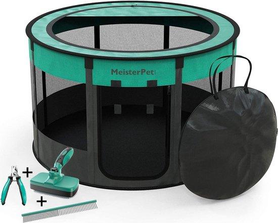 Meisterpet - opvouwbare puppyren rond - (Ø x H) 115 x 58 cm - met gratis dieren verzorging set